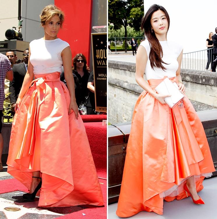 Роскошное творение модного Дома Christian Dior пришлось по душе сразу двум звездам — Дженнифер Лопес и Чон Джи Хён