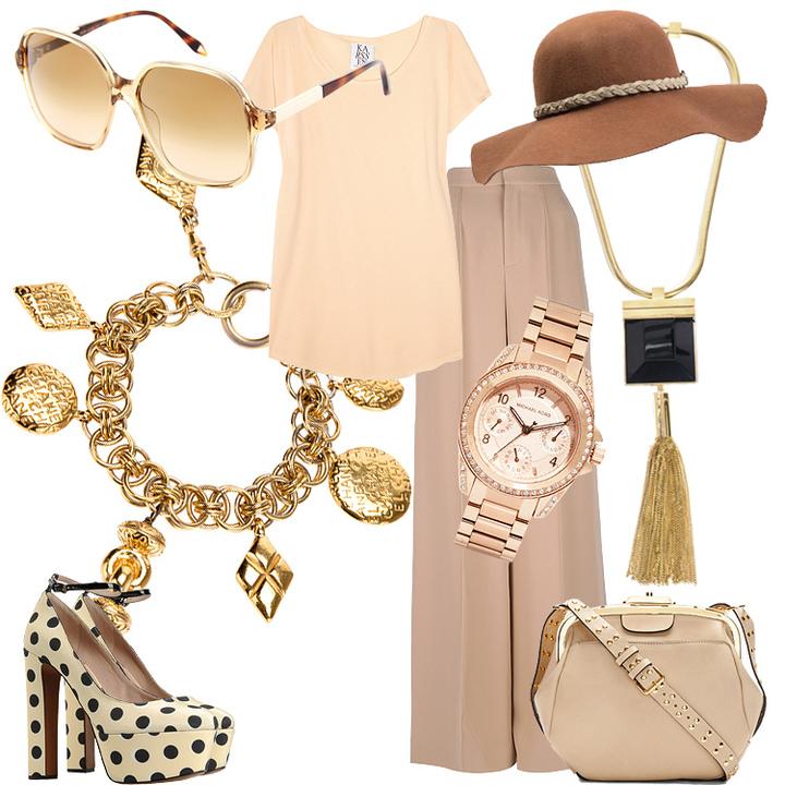 Брюки-клеш из хлопка; браслет; кожаная сумка; кварцевые часы из нержавеющей стали; кожаные туфли; металлическая подвеска с ониксом; солнцезащитные очки; хлопковая футболка; шляпа из войлока