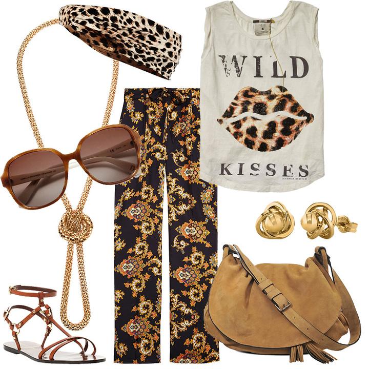 Брюки-клеш из шелка; золотое колье; кожаная сумка; золотые серьги; кожаные сандалии; солнцезащитные очки; повязка из полиэстра на голову; хлопковая футболка