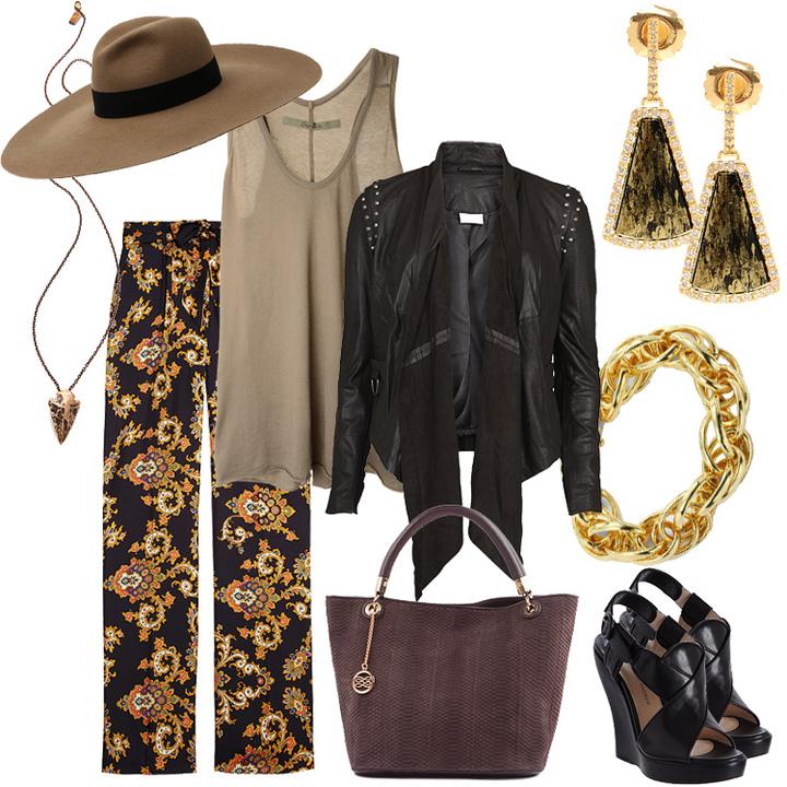 Брюки-клеш из шелка; золотые серьги с бриллиантами и черным родием; бронзовый кулон; сумка из кожи водяной змеи; кожаный жакет; позолоченный браслет; хлопковый топ; шляпа-федора из войлока; кожаные босоножки