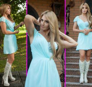 Телеведущая Оксана Марченко надела мини-платье.