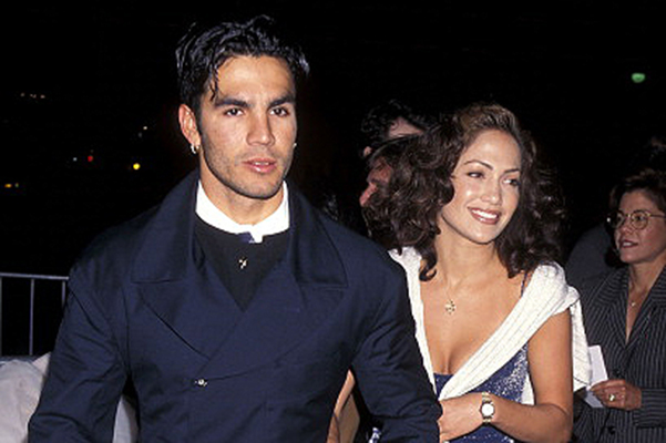 """Actress Jennifer Lopez and husband Ojani Noa attend """"That Old Feeling"""" Century City Premiere on March 31, 1997 at Cineplex Odeon Century Plaza Cinemas in Century City, California."""