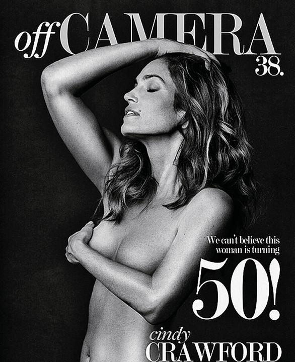 В 50 лет Синди Кроуфорд позирует для обложки журнала топлес. Фото: Instagram.com