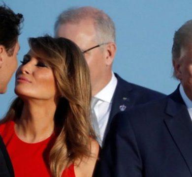 Грустный Трамп стал мемом на фоне поцелуя Мелании с Джaстином Трюдо