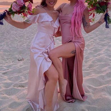 Подружка невесты Леди Гага устроила танцы на столе (видео)