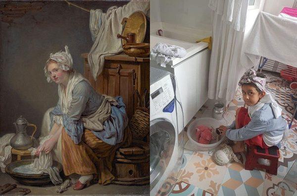 Люди, застрявшие дома, повторяют знаменитые картины