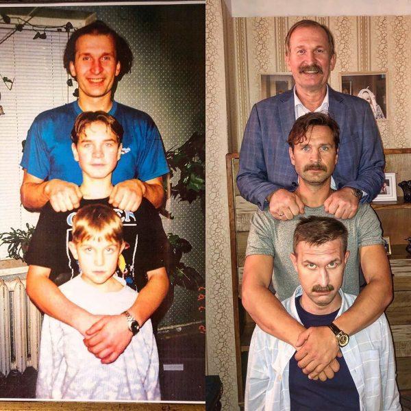 Добронравов с сыновьями показали разницу в десяток лет