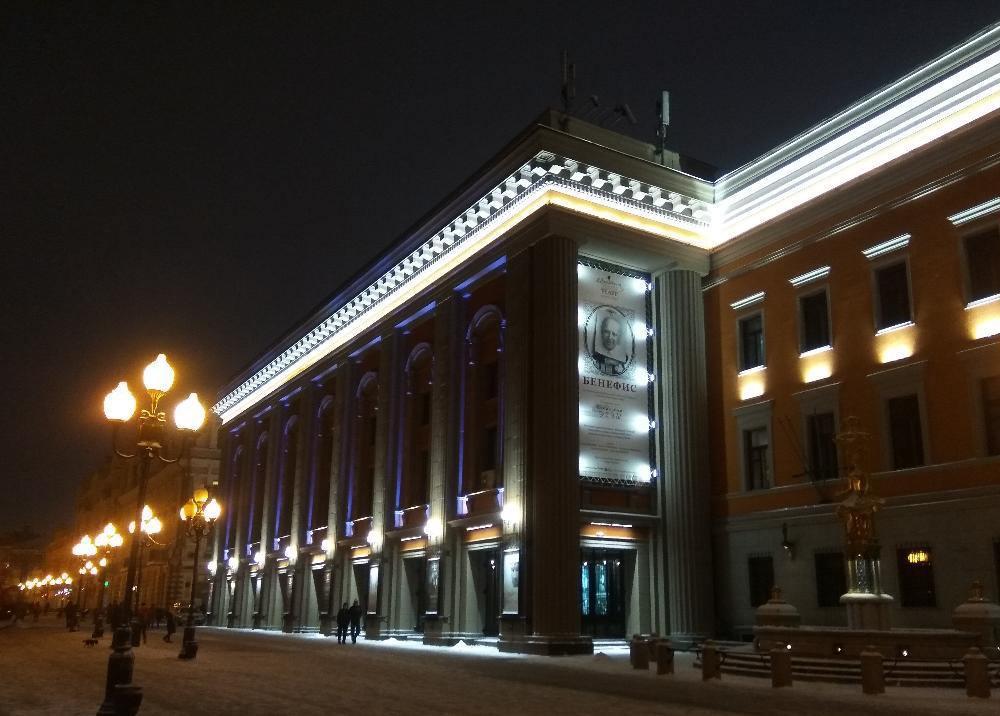 Архитекстурная подсветка театра имени Евгения Вахтангова