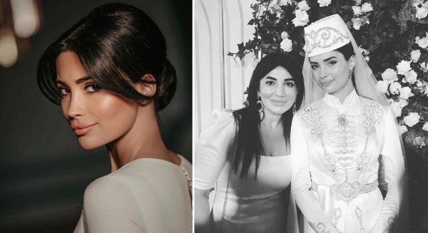 Мадина Плиева в свадебном платье улыбающаяся