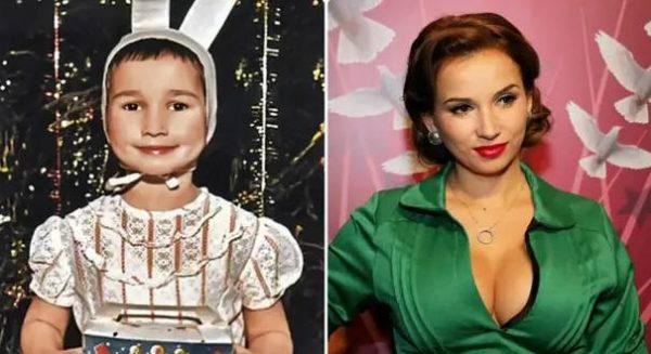Коллаж Анфиса Чехова в детстве и сейчас