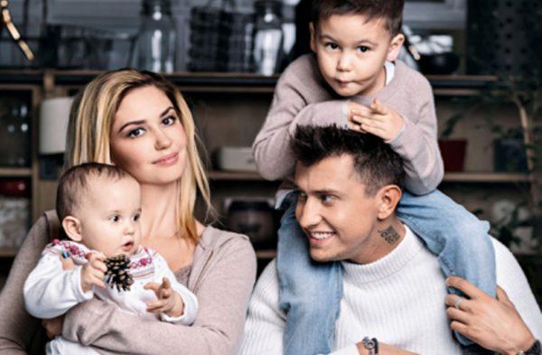 Прилучный с женой Агатой и детьми