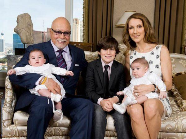 Селин Дион и Рене Анжелил с детьми