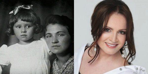 София Ротару с матерью в детстве и сейчас