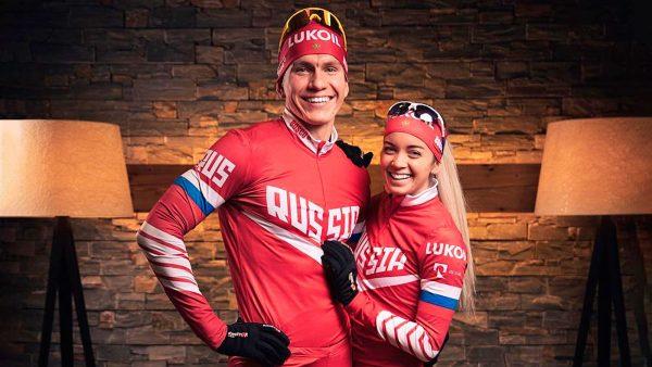 Александр Большунов с девушкой