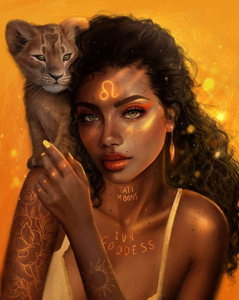 Girl with lion cub