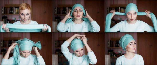 Turban on the head