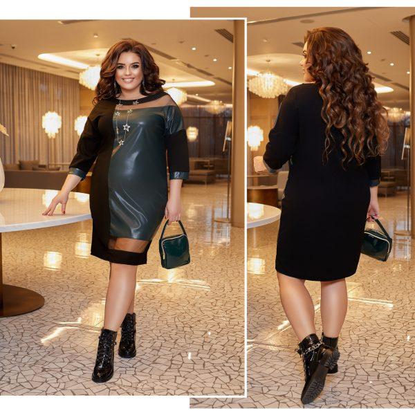 Women's eco-leather sheath dress