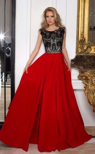 dress red with black
