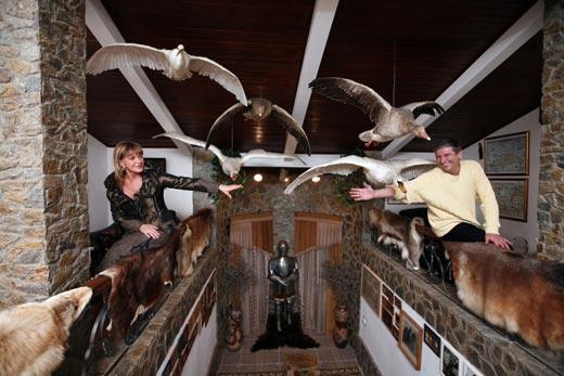 Над лестницей в доме парят убитые птицы.