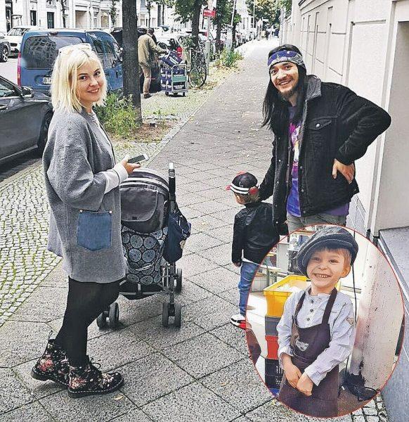 Анастасия с мужем Дмитрием Зангиевым и сыном на прогулке