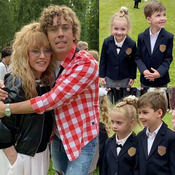 Алла Пугачёва и Максим Галкин с детьми в школе