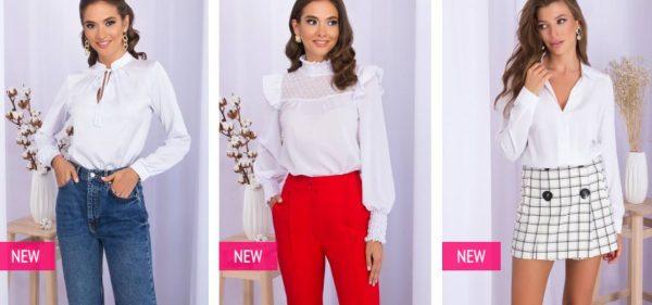 Белые блузы от производителя. Фото glem.com.ua