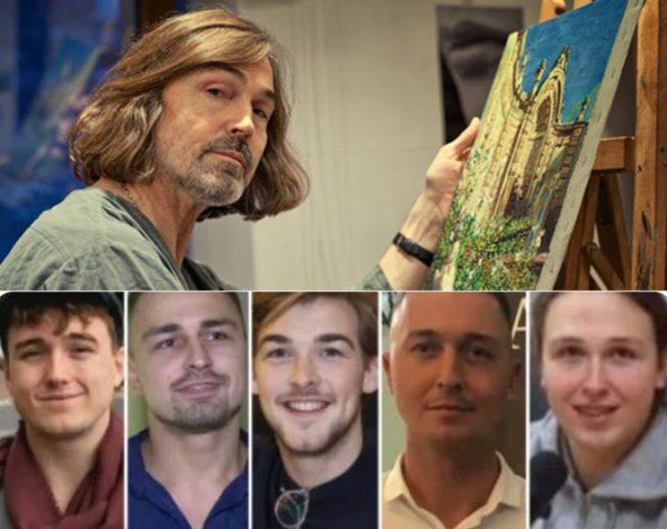 Никас Сафронов и его сыновья. Коллаж