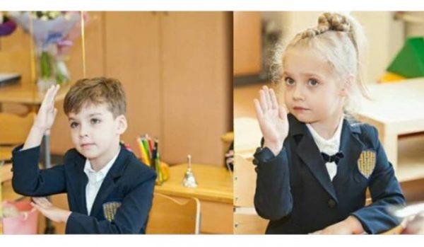 Лиза и Гарри Галкины в школе. Фото