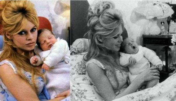 Бриджит Бардо с новорожденным Николя