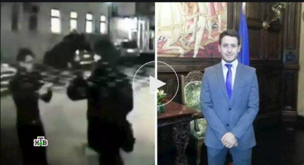 Кадр из передачи НТВ о драке Страхова и итальянца