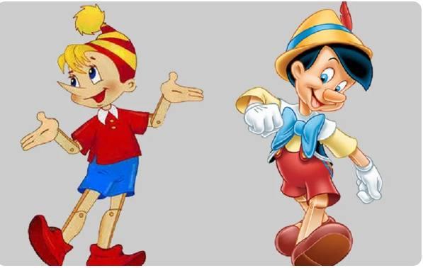Буратино и Пиноккио. Иллюстрация.